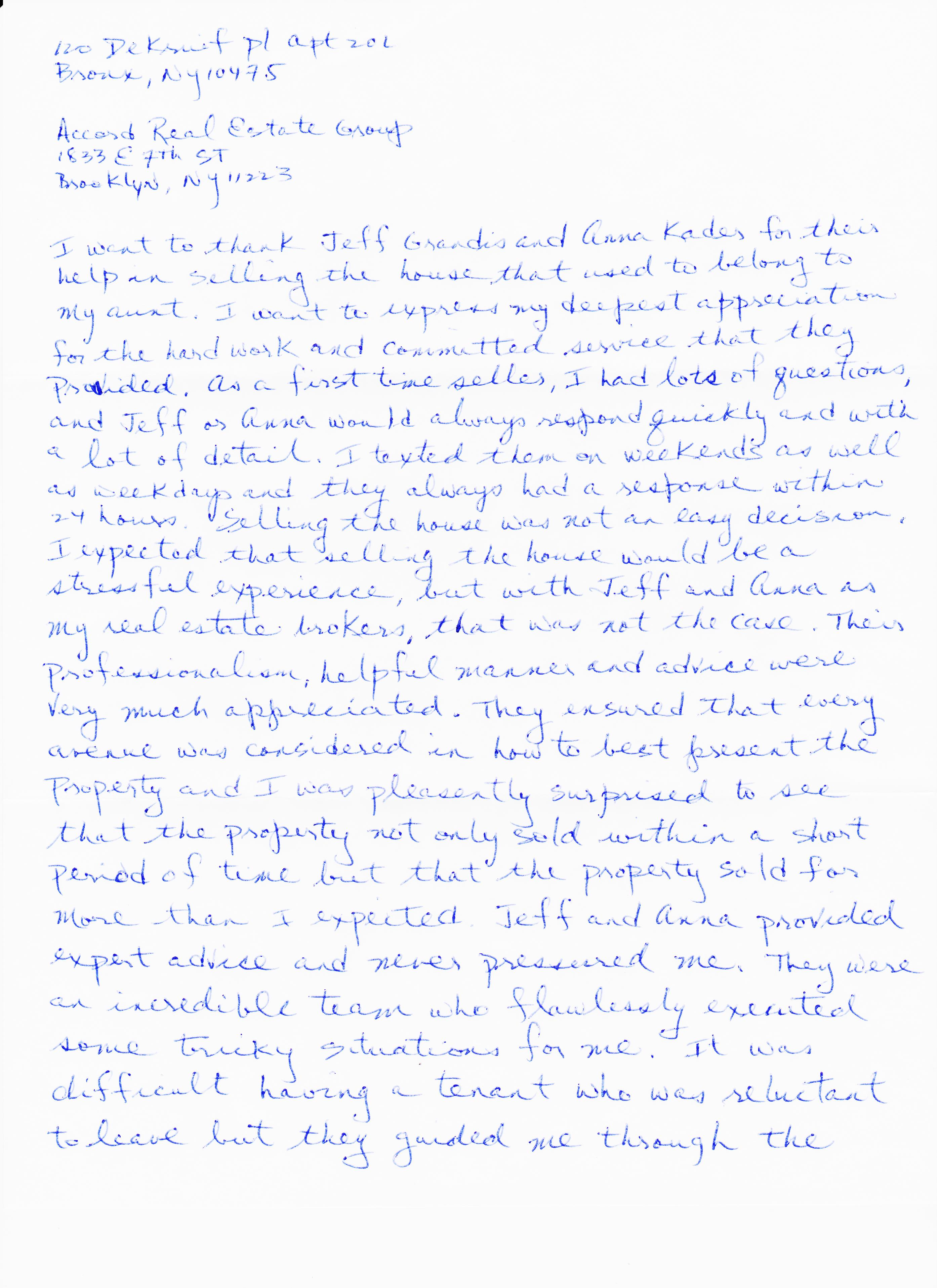 Testimonial Letter from Levinton- pg1of2
