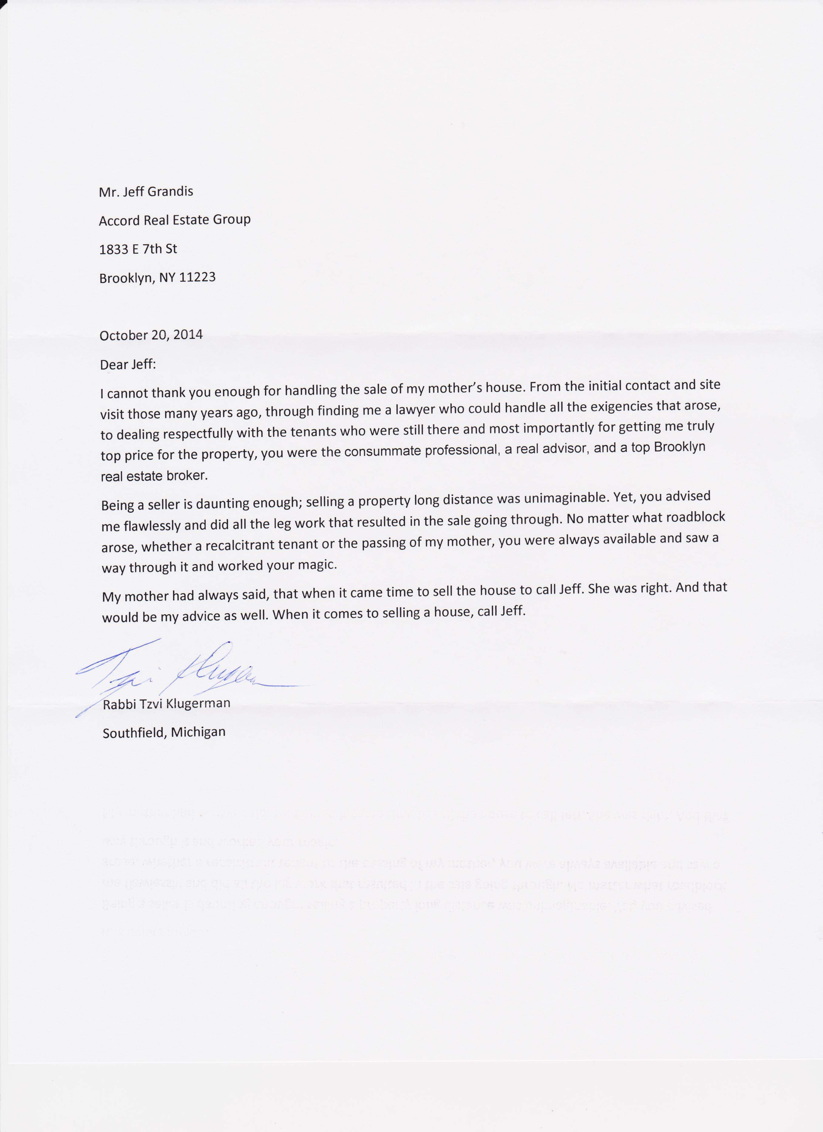 Letter From Rabbi Tzvi Klugerman